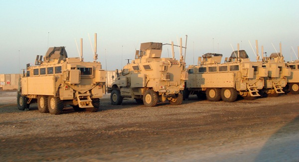 Route clearance team MRAP crews take a breather at Camp Stryker, Victory Base Complex, Baghdad Iraq.