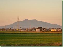 夕日に染まる筑波山